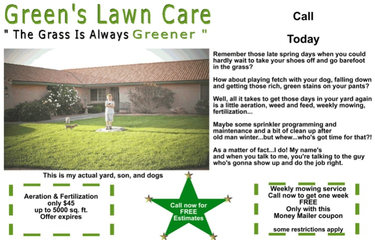 Tony Writes lawn care ad